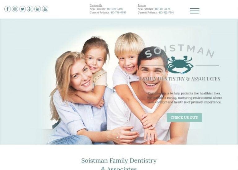 soistmanfamilydentistry.com screenshot showing website of Soistman Family Dentistry & Associates - Centreville, Easton, MD
