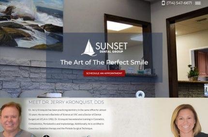 kronquistdental.com screenshot showing homepage of Sunset Dental Group -Dr. Jerry Kronquist, DDS website