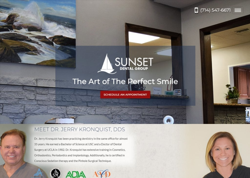 kronquistdental.com screenshot showing homepage of Sunset Dental Group - Dr. Jerry Kronquist, DDS website