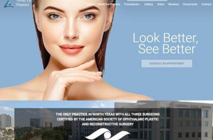 grantgilliland.360sites.net screenshot - Showing homepage of Texas Ophthalmic Plastic Surgery