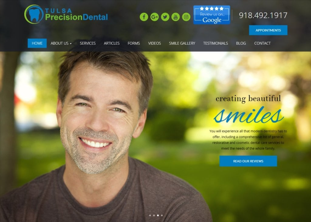 tulsaprecisiondental.com screenshot - Showing homepage of Tulsa Precision Dental - Tulsa, OK website