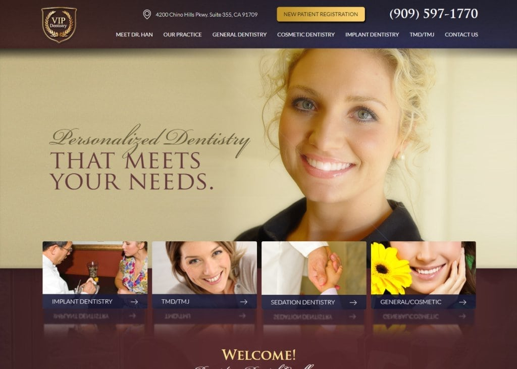 Screenshot showing homepage of VIP Dentistry - Chino Hills, CA website