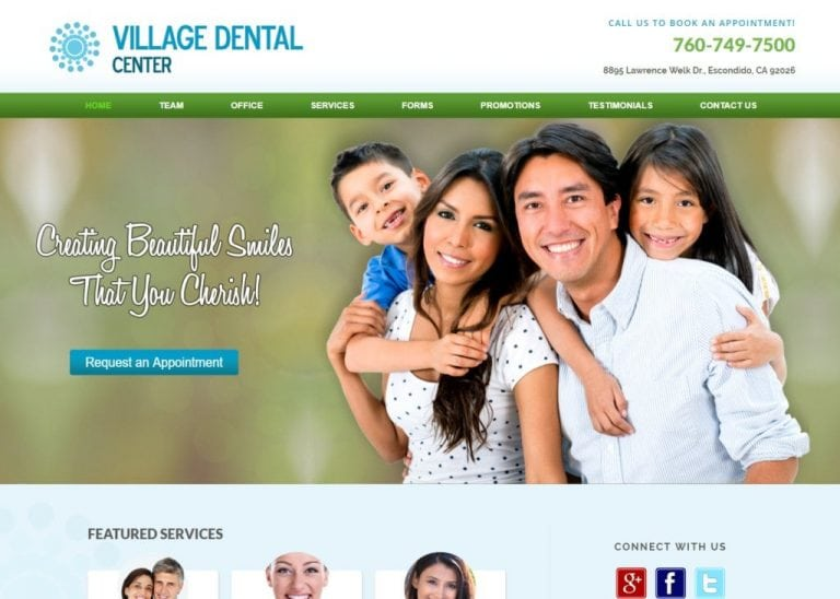 villagedentalctr.com screenshot showing homepage of Village Dental Center, Dr. Kendall Ricks, DDS - Escondido, CA website
