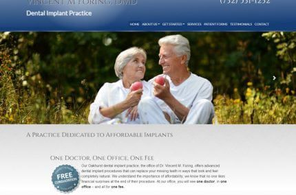 dentalimplantsmonmouthcounty.com screenshot showing home page of Vincent M. Foring, DMD Dental Implants Monmouth County - Oakhurst, NJ website