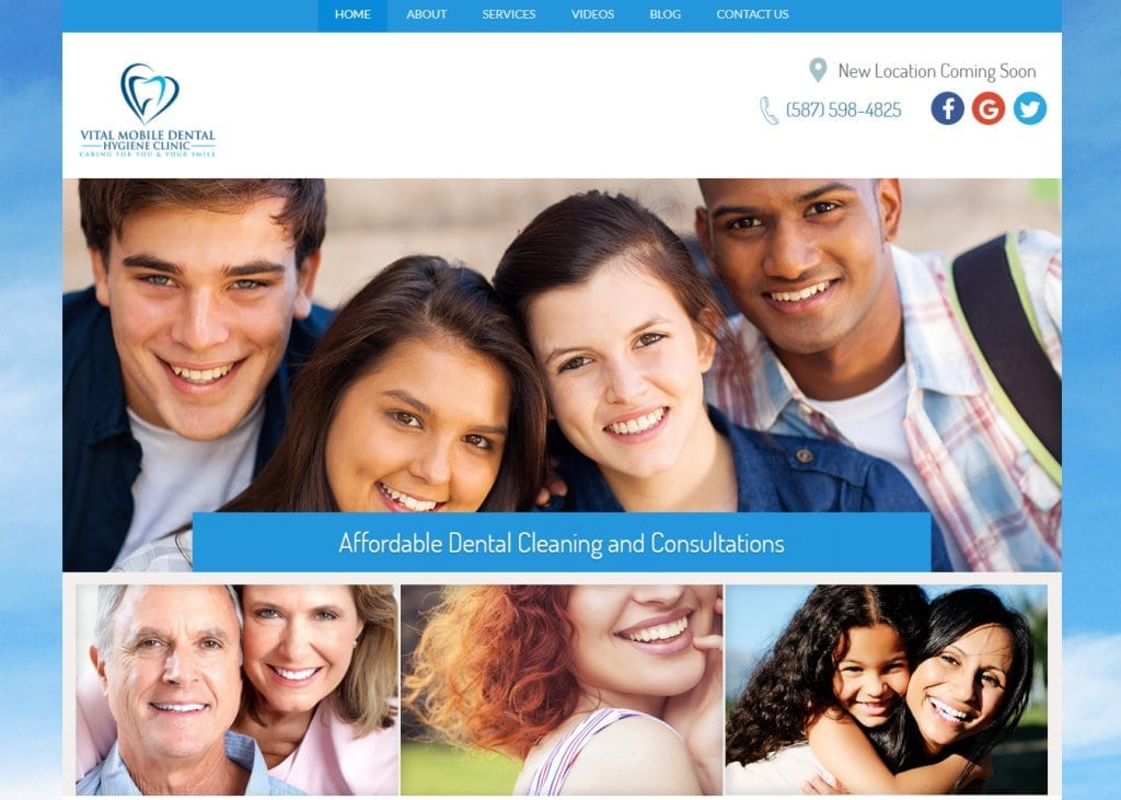 Screenshot showing homepage of Vital Mobile Dental Hygiene Clinic website