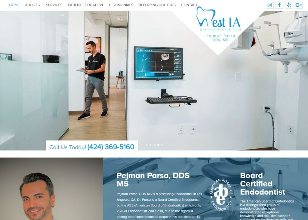 westlaendo.com screenshot - Showing homepage of West LA Endodontics
