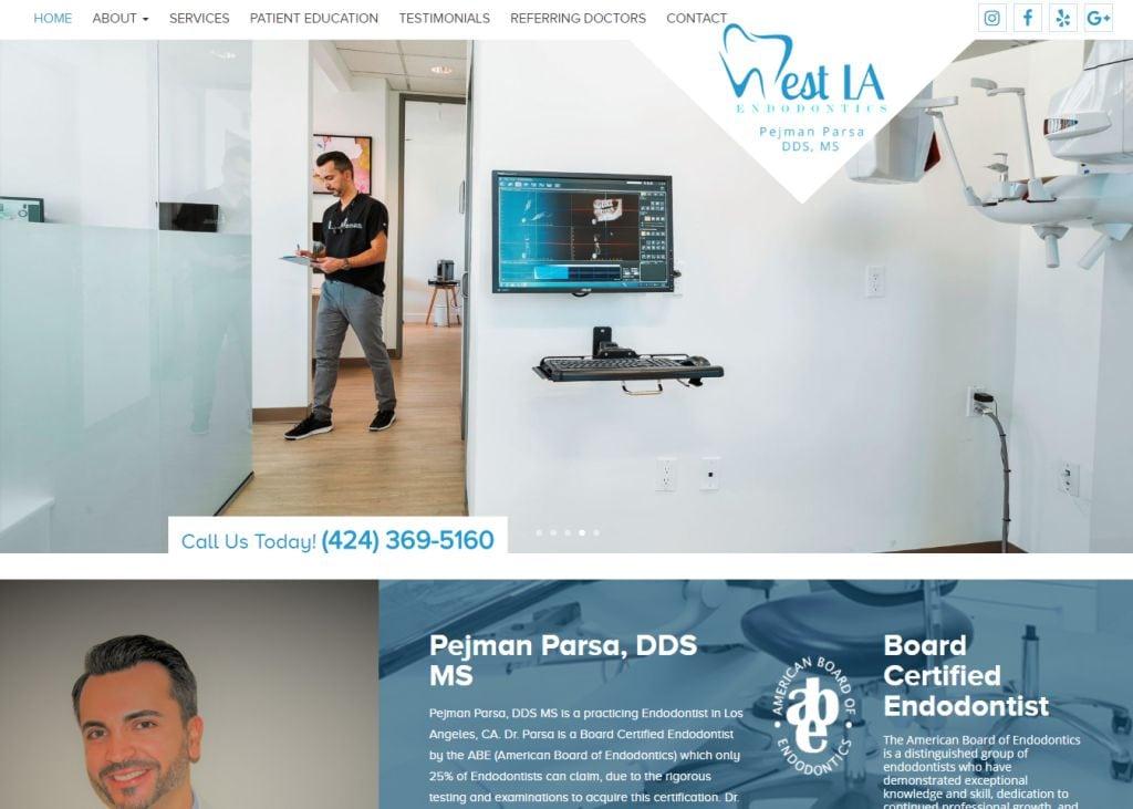 westlaendo.com screenshot - Showing homepage of West LA Endodontics