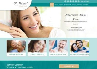 glodentalcare.com screenshot - Shows the homepage of Glo Dental Corcoran Dentist