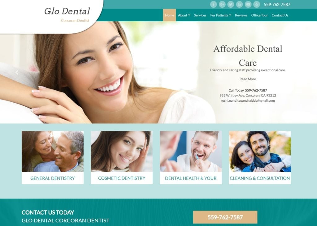 glodentalcare.com screenshot - Shows the homepage of Glo Dental Corcoran Dentist