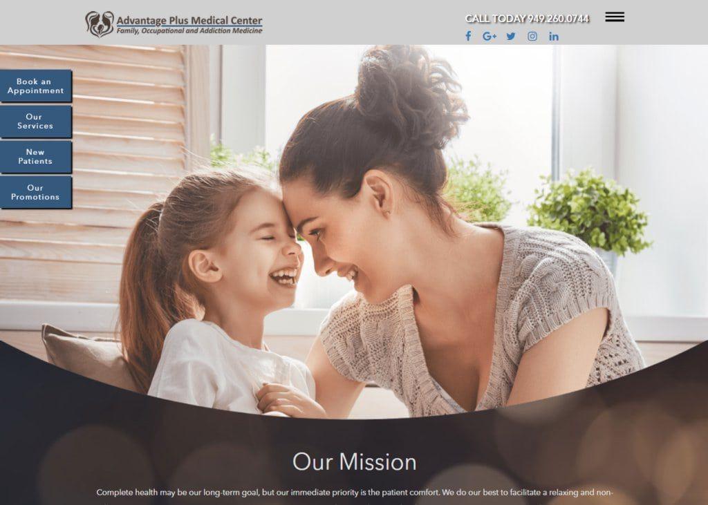 advantageplusmedicalcenter.com Screenshot showing homepage of Advantage Plus Medical Center - Irvine,CA website