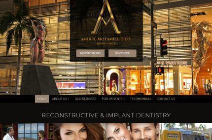 Screenshot showing homepage of Amir H. Motamed, D.d.s.Reconstructive & Implant Dentistrywebsite