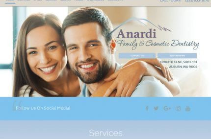 dranardi.com - Screenshot showing homepage of Anardi Family & Cosmetic Dentistry - Auburn, WA website