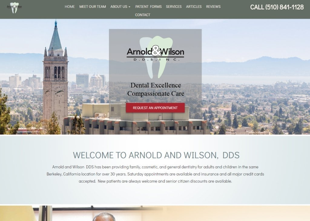 Drhappytooth.com screenshot - Showing homepage of Arnold And Wilson, DDS -  Berkeley Dentist website
