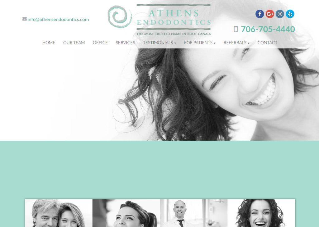 athensendodontics.com screenshot showing homepage of Athens Endodontics website