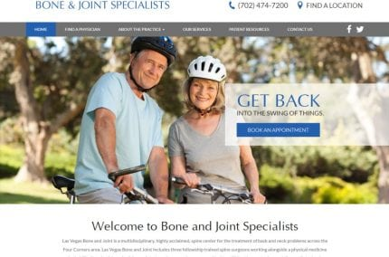 Screenshot showing homepage of Bone and Joint Specialists website