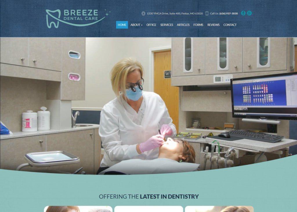 Breezedentalcare.com Screenshot showing homepage of Breeze Dental Care, Dr. Jane Breeze website