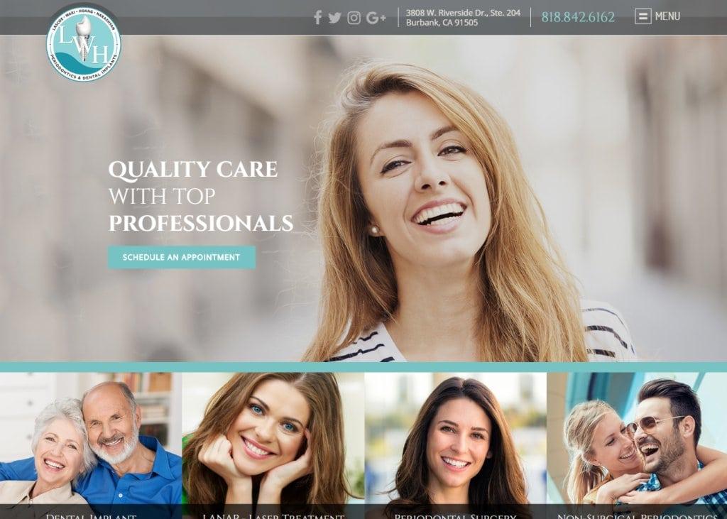 Burbankperio.com - Screenshot showing homepage of Burbank Dentist - Dr. Ronald Lascoe, Dr. Marc Waki, Dr. Taylor Hoang, Dr. Vahe Nakashyan website
