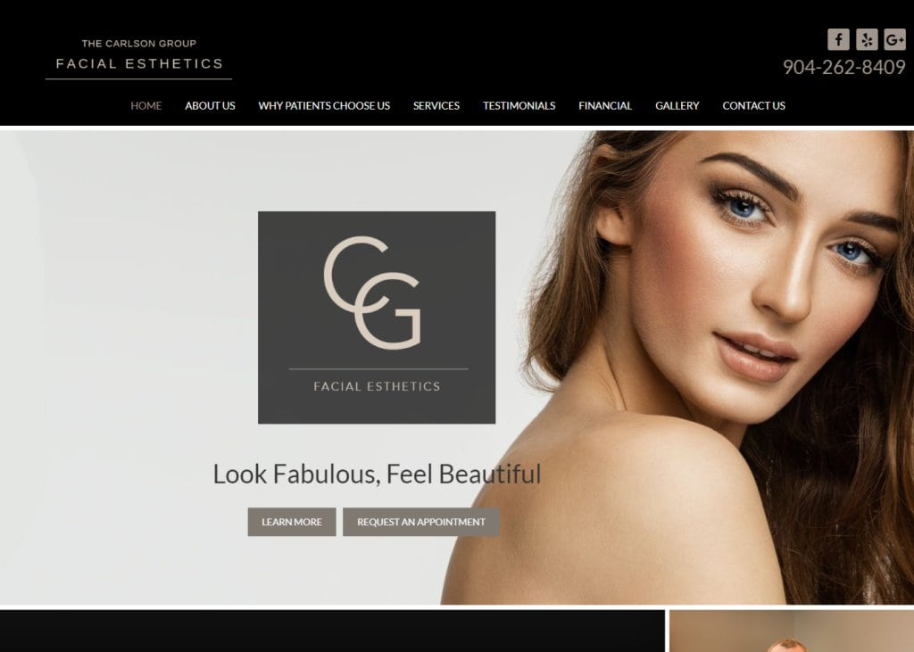 facialesthetics.com screenshot - Showing homepage of Carlson Group Facial Esthetics - Jacksonville, FL website