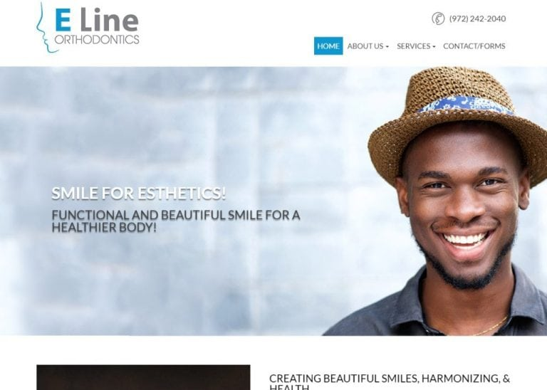 Screenshot showing homepage of Carrollton Orthodontist - Dr. Yoon Chang - E Line Orthonditcs website