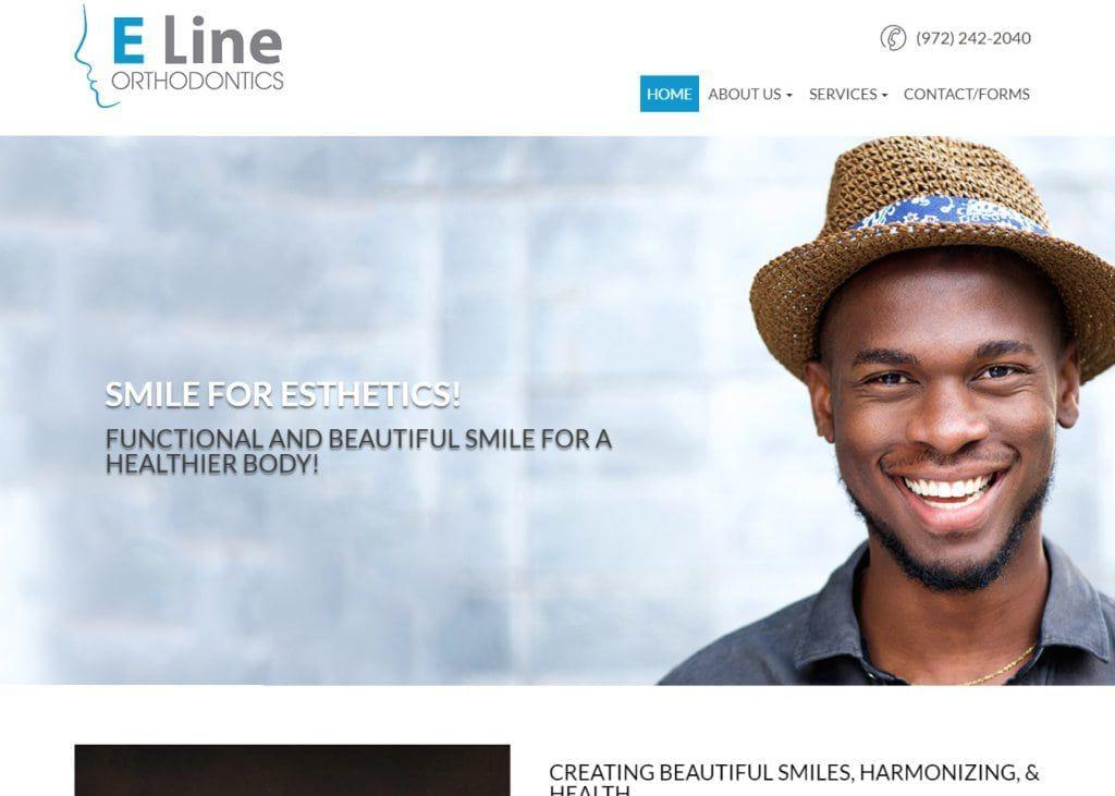 Screenshot showing homepage of Carrollton Orthodontist - Dr. Yoon Chang - E Line Orthonditcs website