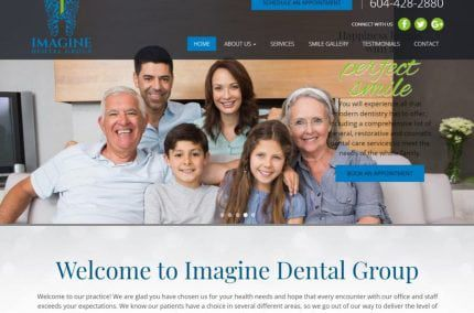 Imaginedentalgroup.com screenshot - Showing homepage of Cheap Emergency Dentist Near You - Vancouver BC - Imagine Dental Group website