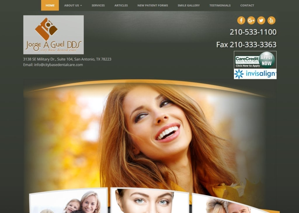 Citybasedentalcare.com - Screenshot showing homepage of City Base Dental Care, Dr. Jorge Guel - San Antonio, TX  website