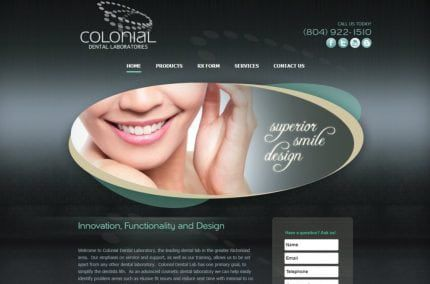 Colonialdentallaboratories.com - Screenshot showing homepage of Colonial Dental Laboratories website