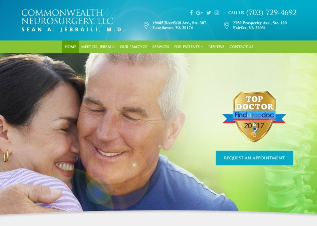Novacns.com - Screenshot showing homepage of Commonwealth Neurosurgery, LLC, Dr. Sean A. Jebraili website