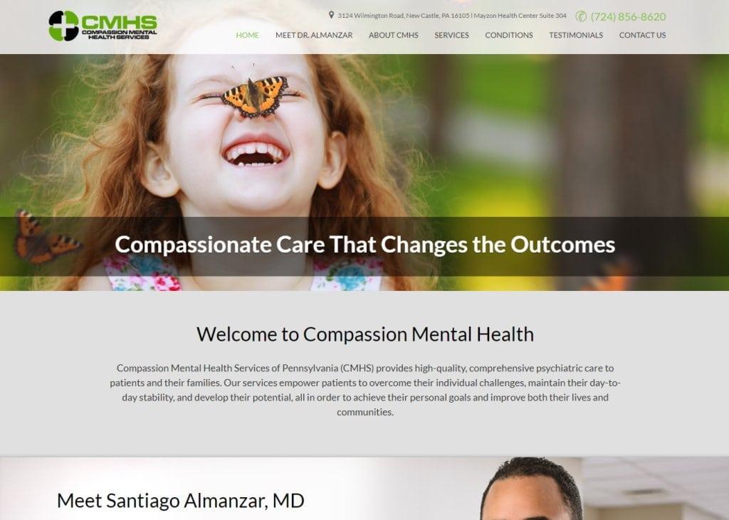 Compassionmhs.com - Screenshot showing homepage of Compassion Mental Health,Santiago Almanzar, MD website