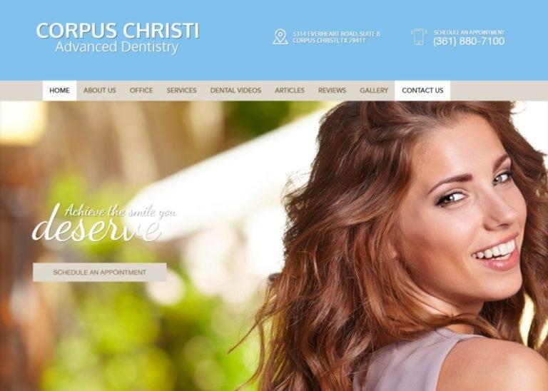 corpuschristiadvanceddentistry.com screenshot showing homepage of Corpus Christi Advanced Dentistry -Corpus Christi, TX website