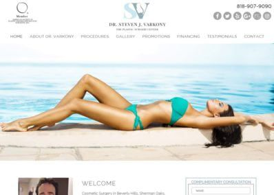 drvarkony.com screenshot showing homepage of Cosmetic Surgery in Beverly Hills, Sherman Oaks, Encino and Los Angeles,Dr. Steven Varkony website