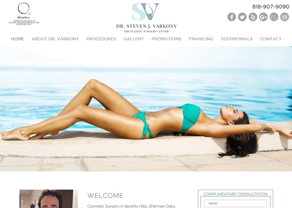drvarkony.com screenshot showing homepage of Cosmetic Surgery in Beverly Hills, Sherman Oaks, Encino and Los Angeles, Dr. Steven Varkony website