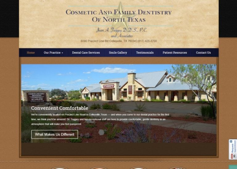 Dentistincolleyville.com - Screenshot showing homepage of Cosmetic and Family Dentistry of North Texas, Dr. Jean Tuggey, Dr. Amanda Taylor and Dr. Jennette Olson website