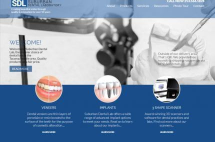 Suburbandentallab.com - Screenshot showing homepage of Suburban Dental Lab website