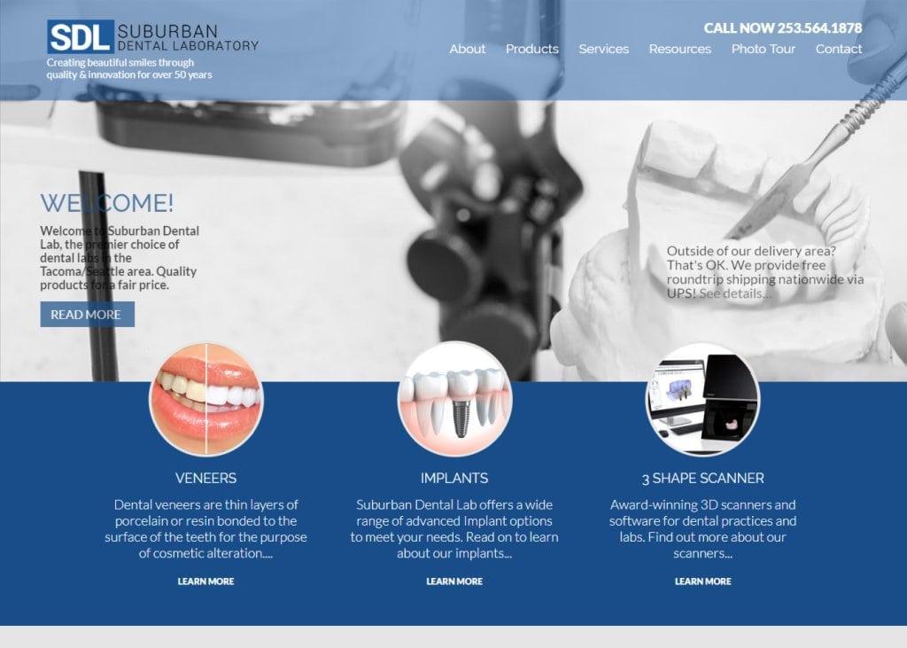 Suburbandentallab.com - Screenshot showing homepage of Suburban Dental Lab website