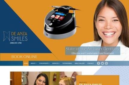 deanzasmiles.com screenshot showing homepage of De Anza Smiles, Dr. Insiya Saboowala, DDS -Cupertino, CA website
