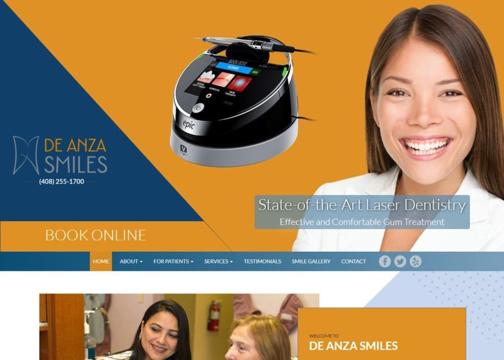 deanzasmiles.com screenshot showing homepage of De Anza Smiles, Dr. Insiya Saboowala, DDS - Cupertino, CA website