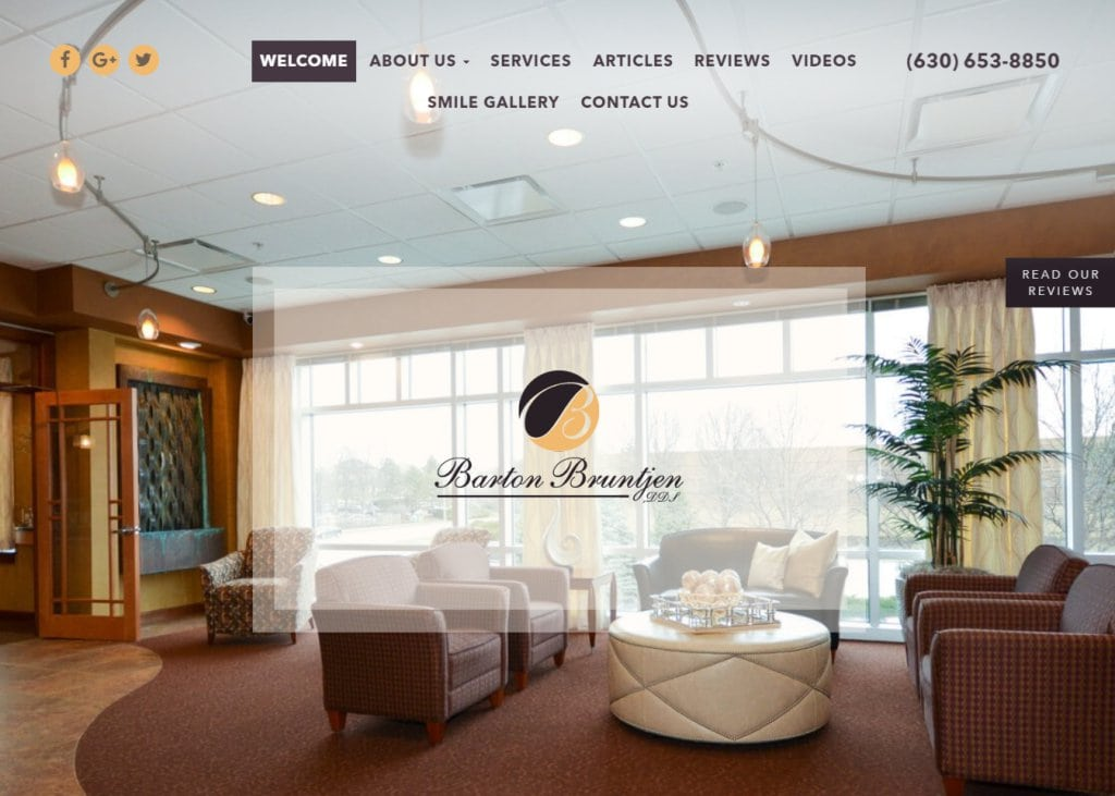 bartonbruntjendds.com screenshot showing homepage of Dental Professionals of Wheaton,Barton Bbruntjen DDS -Wheaton, IL website