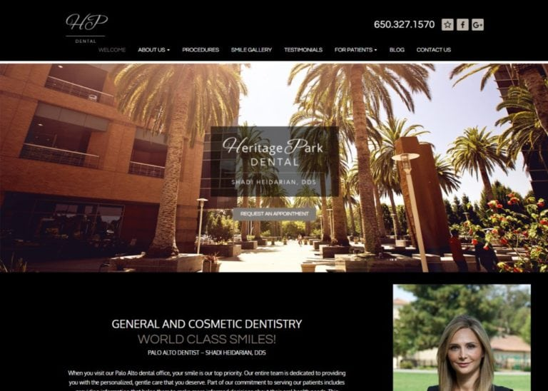 heritageparkdental.com screenshot - Showing homepage of Dentist in Palo Alto, CA - Dr. Sharzad Heidarian website