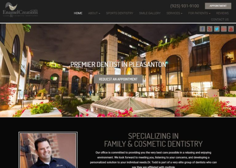 Enamelcreations.com screenshot - Showing homepage of Dentist in Pleasanton, CA - Dr. Todd Yerondopoulos - Laser and Cosmetics Dentistry website