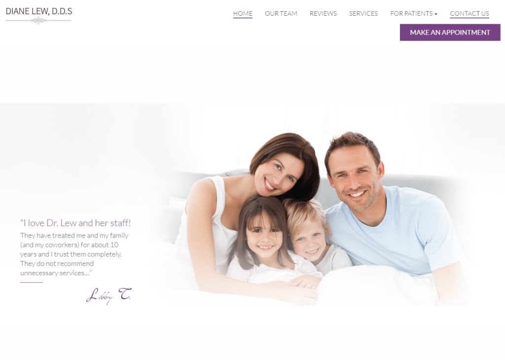 Screenshot showing homepage of Dentist in Sunnyvale, CA - Diane Lew, D.D.S. website