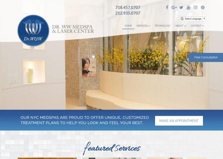 Drwwmedspa.com - Screenshot showing homepage of Dr WW Skincare Advanced Skin Carewebsite
