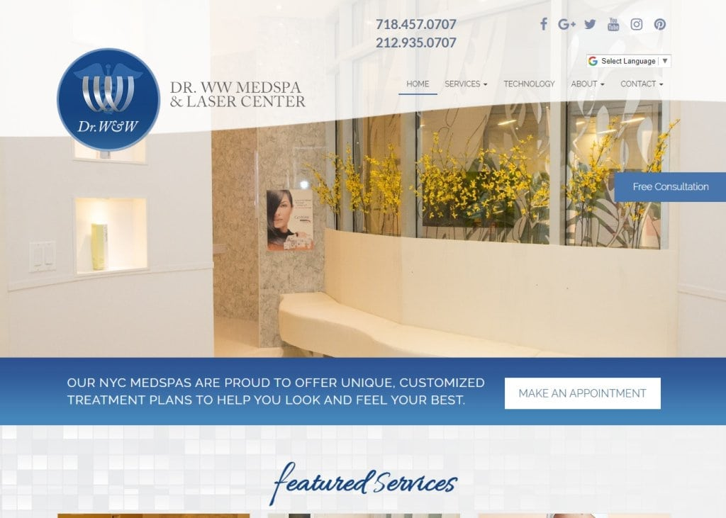 Drwwmedspa.com - Screenshot showing homepage of Dr WW Skincare Advanced Skin Care website