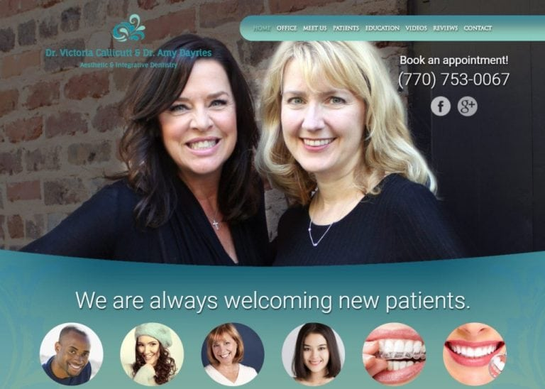 Callicuttdayries.com - Screenshot showing homepage of Dr. Callicutt & Dr. Dayries Cosmetic and Family Dentistry in Roswell, Georgia website