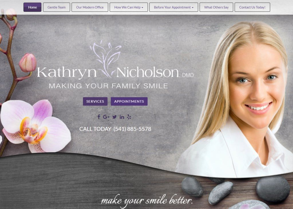 Nicholsondental.com - Screenshot showing homepage of Dr. Kathryn Nicholson Dental website