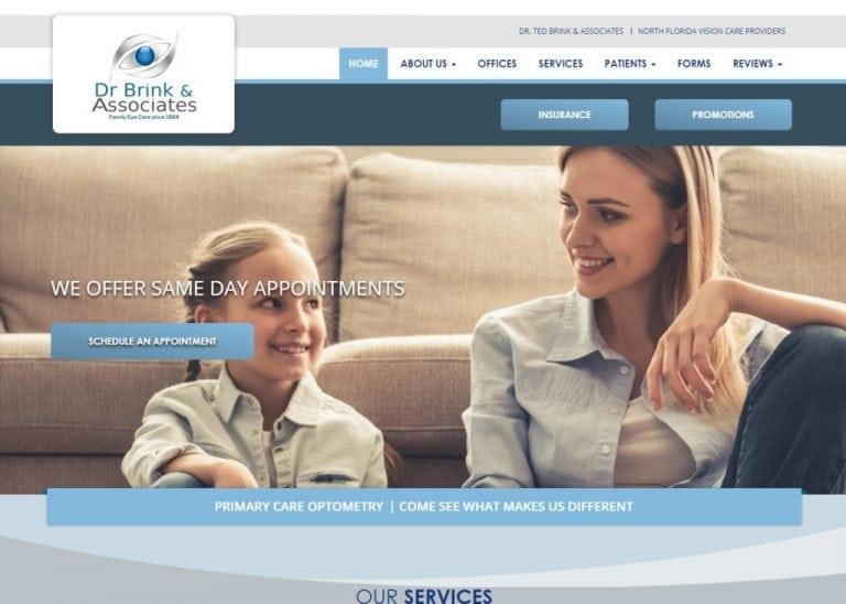 drbrink.com screenshot showing homepage of Dr. Ted Brink & Associates - North Florida Vision Care Providers website