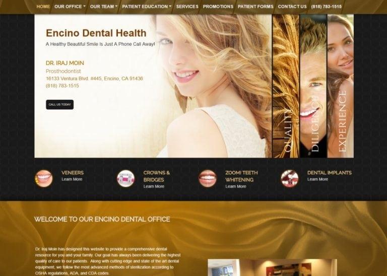 Encinodentalhealth.com screenshot showing homepage of Encino Dental Health - Dr. Iraj Moin -Encino, CA website