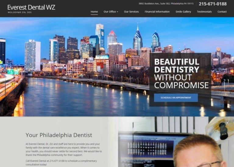 Everestdentalwz.com - Screenshot showing homepage of Everest Dental WZ,Dr. Zin website