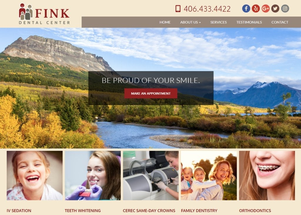 Finkdentalcenter.com screenshot showing homepage of Fink Dental Center - Sidney Dentists - Drs. Richard & Erin Fink website