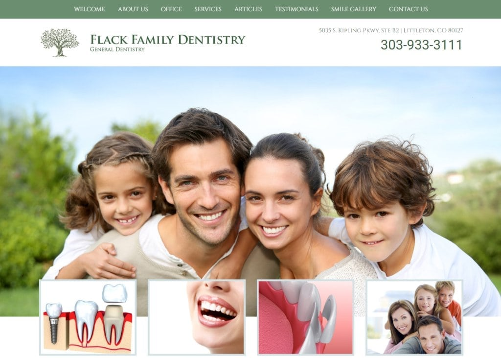 Familydentistrylittleton.com - Screenshot showing homepage of Flack Family Dentistry website